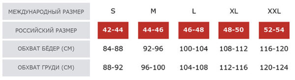 Таблица размеров Leinle