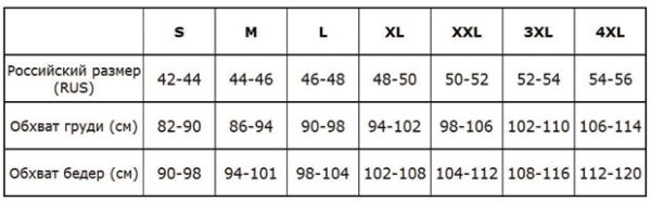 Таблица размеров Reina