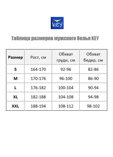 Таблица размеров мужского белья Key